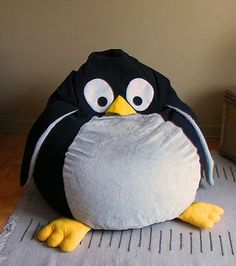 Animal POUF for children - Penguin BeanBag - Toy Furniture - Kid's Room Decor - Floor cushion