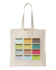 Natural tote BAG with Retro Cassette Tapes Print by apericots