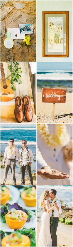 """Their laid back, tropical beach wedding reflected the couple's cool style thanks to many DIY projects, including the invitations and florals. I was inspired by the unique venues: the cute, village-style vacation rental where everyone got ready, the north shore beach with seaweed covered rocks."" Photographer Angie Diaz."