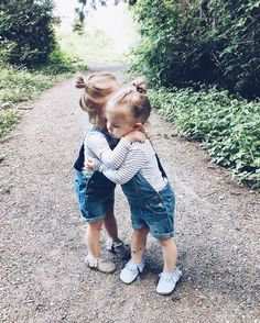 Too Cute! Twin Girls In Matching Dungarees And Stripes Hug Each Other So Cute Baby, Baby Kind, Cute Kids, Cute Babies, Cute Little Girls, Fashion Kids, Little People, Little Ones, Belle Photo