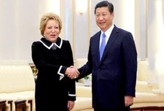 Chinese President Xi Jinping (R) meets with Valentina Matviyenko, chairperson of Russia's Federal Assembly, in Beijing, capital of China, Sept. Beijing, Sports News, Presidents, Russia, Chinese, Formal, Dresses, Style, Fashion