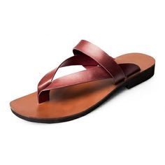 2014 top brand flip flops summer genuine leather shoes for men,top quality beach shoes Slippers flats sandals men   US $85.00
