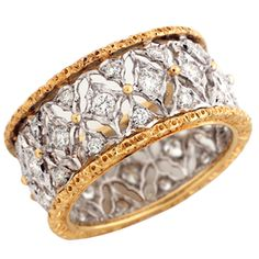 Buccellati 18 Karat Yellow and White Gold and Diamond Ring