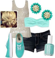 Crochet tank with bandeau top, jean shorts, Tiffany blue vans