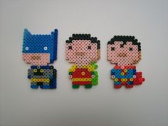 Batman, Robin and Superman Superhero Magnet Set perler beads by PKAwesome