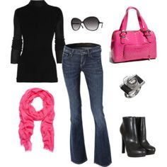 black turtleneck + jeans + hot pink scarf + hot pink bag + black booties (again, I have all these components...)