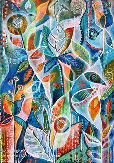 Justine Creates: March 2012 'Secret Garden' Acylic on Canvas by Justine Aldersey-Williams