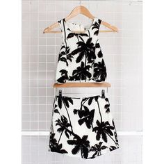 Hearts and Bows | White and Black Tyra Palm Print Top and shorts