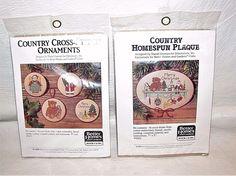 Cross Stitch Ornaments Plaque Kit Christmas Santa Teddybear Better Homes Gardens #BetterHomesandGardens