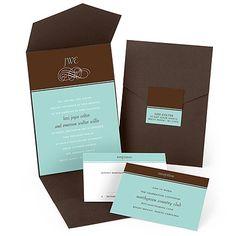 Scrolling Monogram Pocket Wedding Invitations $1.78 #WeddingInvitations #weddings