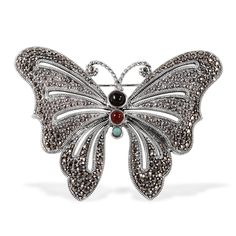Liquidation Channel - Affordable Creature Couture - Butterfly Brooch with Black Onyx (Rnd), Red Agate, Turquoise, Swiss Marcasite in Sterling Silver Nickel Free (25.5 g) TGW 23.00 cts.