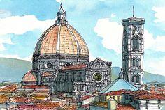 Florence Santa Maria del Fiore Italy 12 x 8 art print by AndreVoyy, $20.00