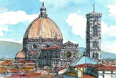 Impresión de Acuarela original de arte de Santa María por AndreVoyy
