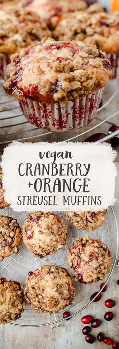 Cranberry & Orange Streusel Muffins - Great way to use leftover cranberry sauce! Vegan Cranberry & Orange Muffins - A great way to use leftover cranberry sauce! Light, fluffy muffins with a sweet, crunchy streusel topping. Vegan Treats, Vegan Foods, Vegan Snacks, Vegan Dishes, Vegan Dessert Recipes, Vegan Breakfast Recipes, Cranberry Recipes Vegan, Jello Recipes, Vegan Breakfast Muffins