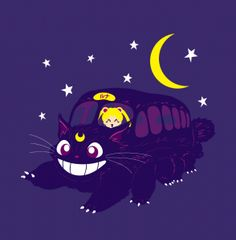 Lunar Express - Luna as the Cat Bus with Sailor Moon - Shirt available at  Arteesel 3da88aea0b7fe