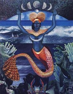 "Goddess of the Ocean and the New Year.  ""Iemanjá""  known as ""Yemanjá"" or ""Janaína"" in Brazilian Candomblé and Umbanda religions.  And Yemaya"" in the folklore of Yoruba and Afro-Caribbean."