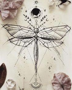 geometrische Zeichnungen, Insekt, Mond, Sonne und Sterne, uralte Symbole