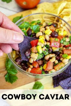 Cowboy Caviar is loaded with beans, corn, peppers, tomatoes, onion, and cilantro that is then topped with a delicious homemade tangy dressing that is ready to enjoy in less than 15 minutes. Yummy Food, Delicious Dishes, Delicious Recipes, Tasty, Cowboy Caviar, Homemade Dressing, Roma Tomatoes, Food Trends, Party Treats