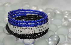 Not All Heroes Wear Capes ~ Back The Blue,  Hand Stamped Aluminum Cuff,  Set of (3) Three, Blue Lives Matter, A Thin Blue Line
