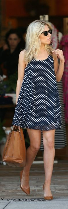 simple and classic summer outfit combination // polkadot tent dress with brown leather flats and handbag