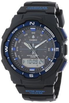 Casio Men's Black Resin Analog Digital Twin Sensor Multi-Function Watch Watch 2, Digital Watch, Casio Watch, Quartz Watch, Watches For Men, Amazon, Twin, Black, Compass