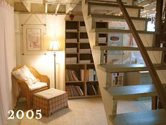 unfinished basement ...I wish! we do have stairs like this...but why doesn't mine look so cute?