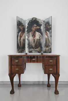 """By examining past and present representations of black women in South African public and private domains, Msezane focuses on the omission of iconic black women in history and mythology. """"Manifestations of Self"""" South African Artists, Women In History, Mythology, Office Desk, Past, Sculpture, Mirror, Furniture, Black Women"""