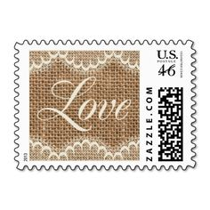 Rustic Wedding Burlap and Lace Love in Script Postage Stamps