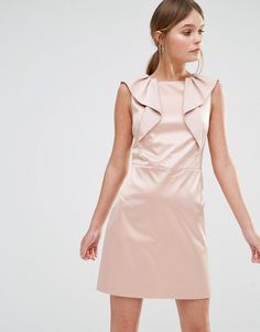Oasis Satin Ruffle Shift Dress - Cream