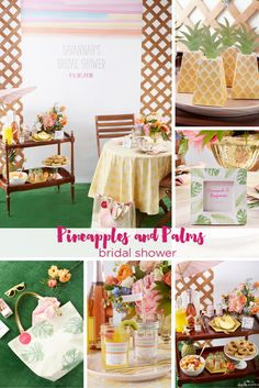 Everything you need to throw a Palm Springs Inspired Bridal Shower! Check out this Pineapple and Palms Bridal Shower with Kate Aspen on PartiesforPennies.com