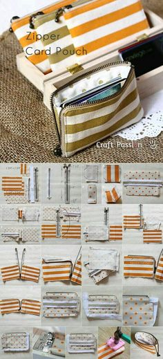 Diy Sewing Projects Stofftasche mit Reißverschluss More - Have you ever had too many cards for your wallet? Get the pattern and tutorial to sew a zipper card pouch and don't have to struggle with the cards anymore. Sewing Hacks, Sewing Tutorials, Sewing Crafts, Sewing Projects, Sewing Tips, Sewing Basics, Fabric Crafts, Bag Tutorials, Sewing Ideas