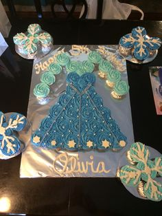 Frozen Elsa's cupcake cake dress for my daughters birthday. It was almost too beautiful to eat... :)