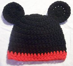Cute Black Mouse Hat  MADE TO ORDER  Preemie To 5T by skylay, $15.00