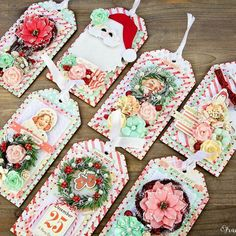 """ Making your holidays a little more merry is easy with the Sweet Peppermint Collection. Make sweet Christmas tags for all your gifts like these by Frank Garcia."" #sweetpeppermint #christmastags #christmas #frankgarcia #holidays #primaflowers #primamarketing @frankgarciadesigns"