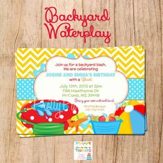 Backyard Splish Splash Party Bash Invitation By Myooakboutique Etsy Store