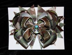 Army BDU Camo Medium Layered Hair Bow Barrette by KraftyKatBows, $7.00