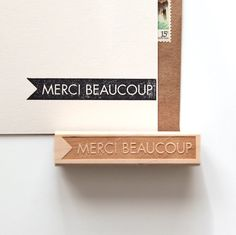 Merci Beaucoup Thank You Rubber Stamp in French by HuntersHideaway, $18.95