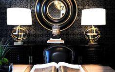 Buddha Head | Orb Lamp | Brass Lamp | Black Wallpaper | Monochrome Interior | Color Quote