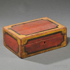 Painted Pine Box, New England, early 19th century, the rectangular dovetail-constructed box with hinged lid, painted red with black and yell...