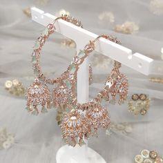 Jhumki Earrings, Dangle Earrings, Diamond Earrings, Dangles, Mint, Rose Gold, Bracelets, Desi, Silver