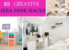 10 Best IKEA Desk Hacks That Are Super Easy To Do | Dear Home Maker Ikea Corner Desk, Ikea Alex Desk, Ikea Micke, Ikea Kallax Hack, Ikea Desk Drawers, Ikea Hack Storage, Desk Hacks, Ikea Decor, Ikea Office