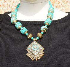 Ethnic turquoise stone Indian Hippie necklace. $52.00, via Etsy.