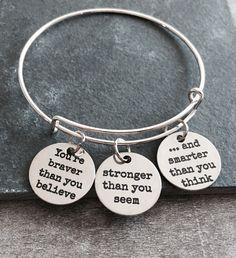 You're braver than you believe, Silver Jewelry, Gift, inspiration, Inspire, Encourage, Recovery, Graduation, Silver Bracelet, Charm Bracelet by SAjolie, $29.95 USD