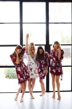 Bridesmaid Robes // Robe // Bridal Robe // Bride Robe // Autumn // Fall, wedding party gifts, burgundy floral