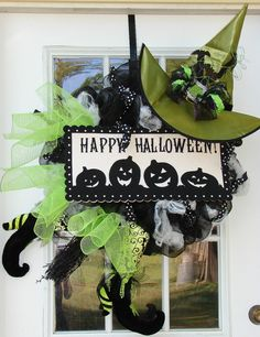 Etsy WITCHY HAPPY HALLOWEEN, Poly Deco Mesh Wreath, Witch Wreath, Fall Decor, Halloween Wreah, Fall Wreath