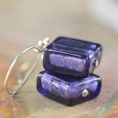 Deep Rhapsody purple Venetian glass earrings, flat squares at http://southpawonline.com/products/deep-rhapsody-purple-venetian-glass-earrings
