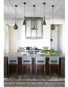 Pendants above island? Arteriors has similar.
