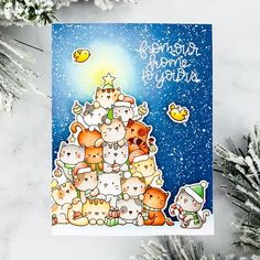 Oh kitty tree, you brighten my day! I may be a dog person, but it's impossible not to love this stinkin' cute Christmas tree made up of piling kitties! What an adorable set by Cat Christmas Tree, Christmas Cards 2017, Holiday Cards, Mama Elephant Stamps, Up Book, Cat Cards, Animal Cards, Kitty, Scrapbooking