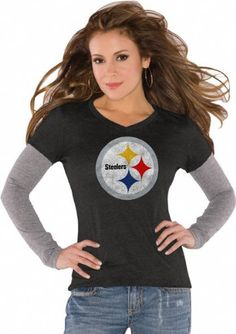 Pittsburgh Steelers Black Women's Primary Logo Tri Blend Long Sleeve Layered T-Shirt- By Alyssa Milano - Keep it simple and flaunt your Pittsburgh Steelers team spirit while maintaining the grace and beauty of your female figure with this Pittsburgh Steelers Women's Tri-Blend Long Sleeve T-shirt. Featuri... - T-Shirts - Sporting Goods - $34.99