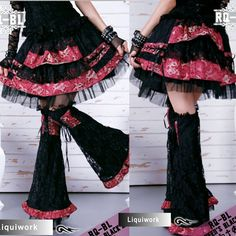 Black Pink Dragon Gothic Lolita Punk Emo Mini Skirts Costumes 2Pc SKU-11406043